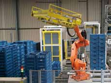 De palletising by means of a robot